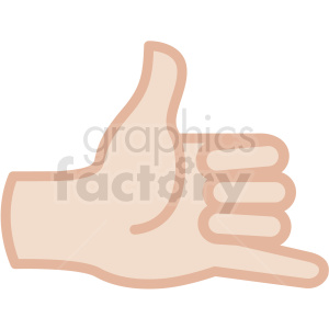 white hand hang loose gesture vector icon clipart. Commercial use image # 406826