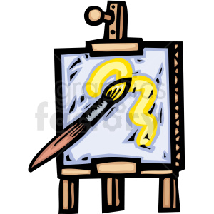 An Easel Holding a Canvas with Yellow Paint clipart. Royalty-free image # 156287