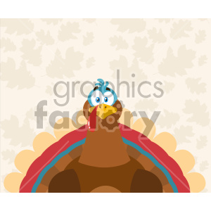 Thanksgiving Turkey Bird Cartoon Mascot Character Vector Illustration Flat Design Over Background With Autumn Leaves_1