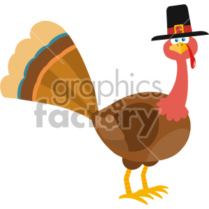 Thanksgiving Turkey Bird With Pilgrim Hat Cartoon Character Vector Illustration Flat Design Isolated On no Background clipart. Royalty-free icon # 406969