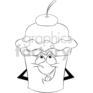 black and white cartoon ice cream mascot character with a cherry on top