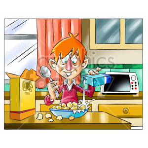 cartoon child kid boy morning breakfast eating cereal