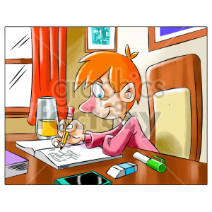 cartoon child kid boy homework writing working study studying