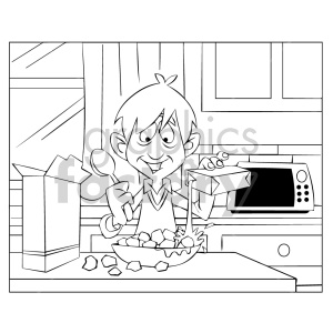 cartoon child kid boy morning breakfast eating cereal black+white coloring+page
