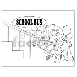 cartoon child kid boy running late school school+bus black+white coloring+page