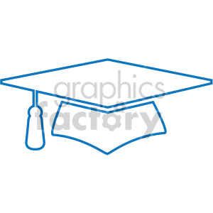 blue graduation cap outline vector icon clipart. Commercial use image # 407073