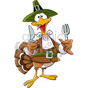 cartoon Thanksgiving turkey holding silverware ready for dinner clipart. Royalty-free image # 407114
