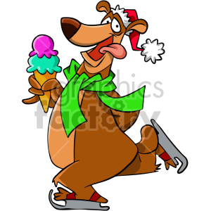 cartoon bear ice skating with ice cream cone clipart. Commercial use image # 407119