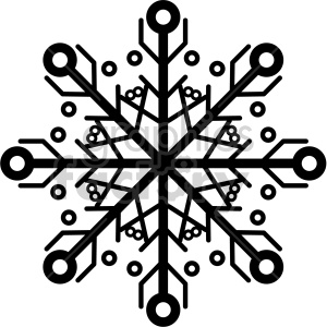 black and white snowflake vector icon clipart. Commercial use image # 407247