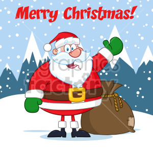 Happy Santa Claus Cartoon Mascot Character Waving Hand Drawing Vector Illustration Over Winter Background With Text Merry Christmas clipart. Royalty-free image # 407268