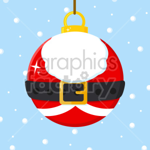 Christmas Ball With Santa Claus Costume Vector Illustration Flat Design Over Background With SnowFlakes clipart. Commercial use image # 407272