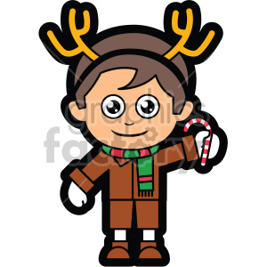 cartoon guy wearing reindeer antlers for christmas vector clip art clipart. Royalty-free image # 407278