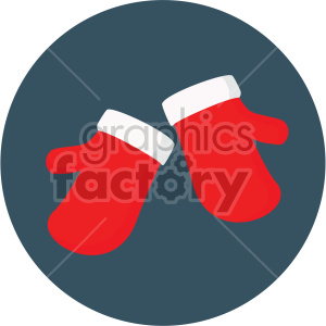 christmas mittens on navy blue circle background icon