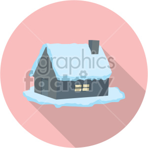 snow covered cabin on pink background clipart. Commercial use image # 407385