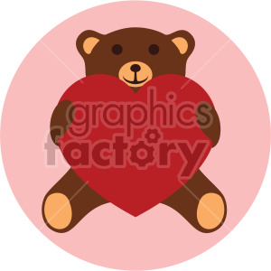 teddy bear holding large red heart valentines vector icon on pink background clipart. Commercial use image # 407454