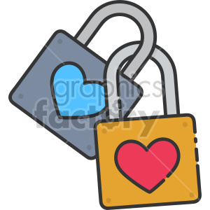 heart locked together clipart. Commercial use image # 407483