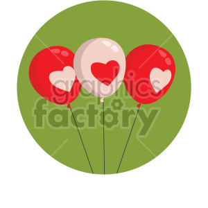 valentines balloons vector icon on green background clipart. Commercial use image # 407497