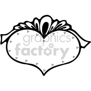 heart with ribbon black white clipart. Commercial use image # 407531