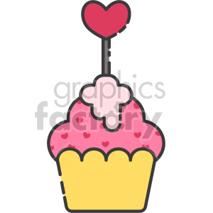 cupcake with heart topper clipart. Royalty-free icon # 407570