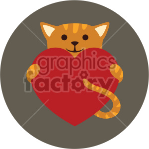 cat holding big heart on circle background clipart. Commercial use image # 407616