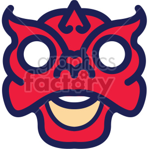 chinese new year dragon mask clipart. Commercial use image # 407636