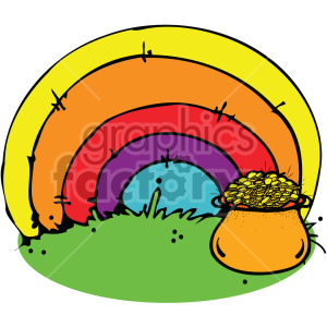 st pattys rainbow with pot of gold 003 c clipart. Commercial use image # 407704