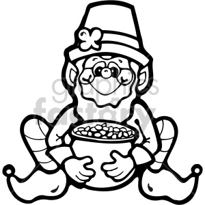 leprechaun 001 bw clipart. Commercial use image # 407710