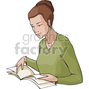 woman reading some papers clipart. Commercial use image # 155357