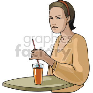 waitress serving a drink clipart. Royalty-free image # 155369