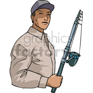 man holding fishing pole clipart. Royalty-free image # 168905