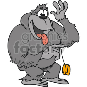 clipart - gorilla playing with yoyo.