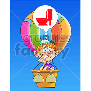 cartoon man has to got to the bathroom in hot air balloon clipart. Royalty-free image # 407906