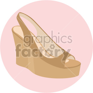 womans wedge shoe on pink circle background clipart. Commercial use image # 408154