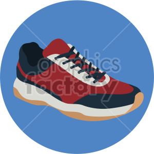 red walking shoe on blue circle background