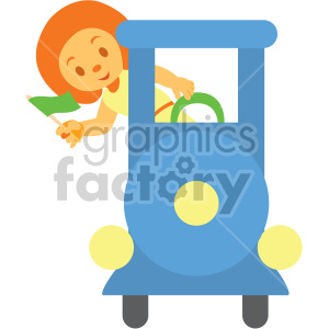 cartoon girl riding train clipart. Commercial use image # 408396