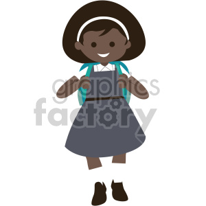 african american girl walking to school clipart. Commercial use image # 408404