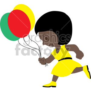 african american girl running with balloons clipart. Commercial use image # 408407