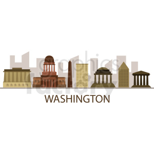 downtown washington city skyline vector design with label