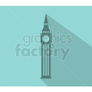 big ben building vector on ocean blue background