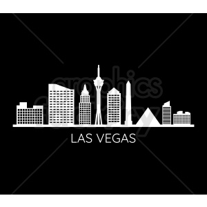 las vegas skyline vector on black clipart. Commercial use image # 408622