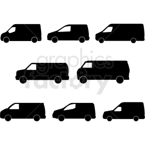 set of vans silhouette vector clipart. Royalty-free image # 409140