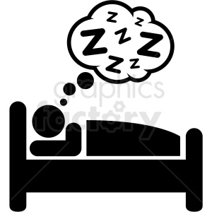 black and white person sleeping in bed icon vector