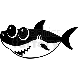 black and white baby shark cut file facing left clipart. Commercial use image # 409229
