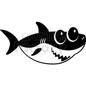 black and white baby shark cut file facing right clipart. Commercial use image # 409234