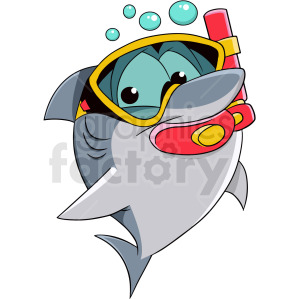 baby shark wearing snorkel clipart. Commercial use image # 409287