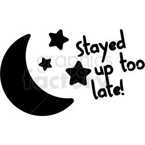 stayed up to late digital planner sticker clipart. Royalty-free image # 409367