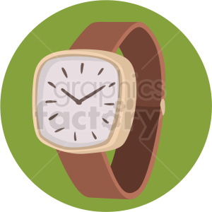 vector brown wrist watch green background clipart. Royalty-free image # 409496