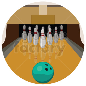 bowling lane vector clipart on circle background clipart. Commercial use image # 409507