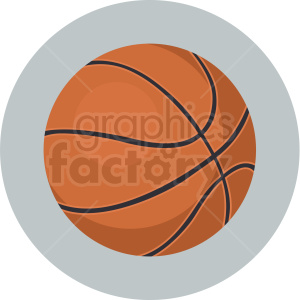 basketball vector clipart on circle background