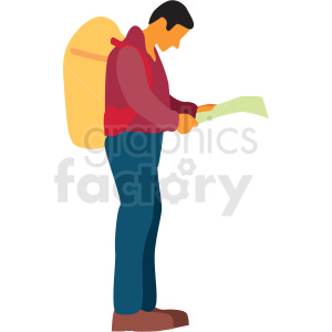 man looking at map clipart. Commercial use image # 409658